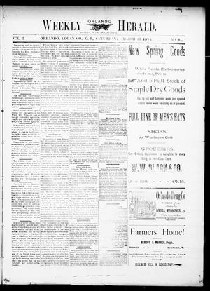 Primary view of object titled 'Weekly Orlando Herald. (Orlando, Okla. Terr.), Vol. 2, No. 41, Ed. 1 Saturday, March 31, 1894'.