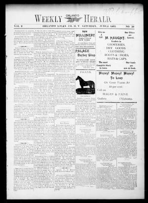 Primary view of object titled 'Weekly Orlando Herald. (Orlando, Okla. Terr.), Vol. 3, No. 50, Ed. 1 Saturday, June 1, 1895'.