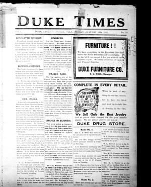 Primary view of object titled 'Duke Times (Duke, Okla.), Vol. 4, No. 25, Ed. 1 Monday, January 15, 1912'.