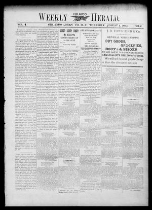Primary view of object titled 'Weekly Orlando Herald. (Orlando, Okla. Terr.), Vol. 4, No. 6, Ed. 1 Thursday, August 1, 1895'.