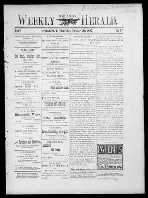 Primary view of object titled 'Weekly Orlando Herald. (Orlando, Okla. Terr.), Vol. 6, No. 17, Ed. 1 Thursday, October 7, 1897'.