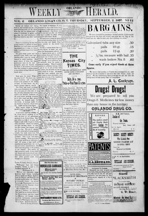 Primary view of object titled 'Weekly Orlando Herald. (Orlando, Okla. Terr.), Vol. 6, No. 12, Ed. 1 Thursday, September 2, 1897'.