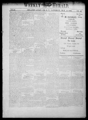 Primary view of object titled 'Weekly Orlando Herald. (Orlando, Okla. Terr.), Vol. 3, No. 46, Ed. 1 Saturday, May 4, 1895'.