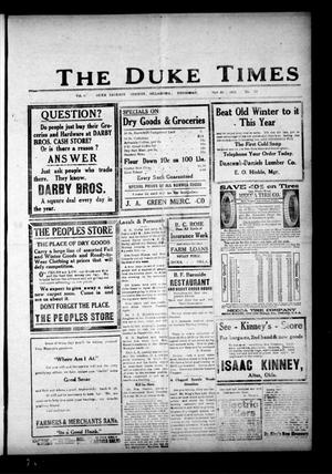 Primary view of object titled 'The Duke Times (Duke, Okla.), Vol. 8, No. 17, Ed. 1 Thursday, October 21, 1915'.