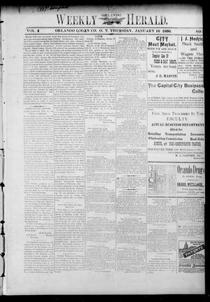 Primary view of object titled 'Weekly Orlando Herald. (Orlando, Okla. Terr.), Vol. 4, No. 31, Ed. 1 Thursday, January 16, 1896'.