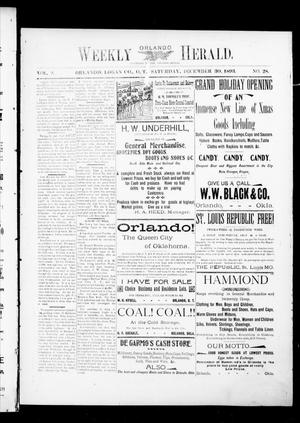 Primary view of object titled 'Weekly Orlando Herald. (Orlando, Okla. Terr.), Vol. 2, No. 28, Ed. 1 Saturday, December 30, 1893'.