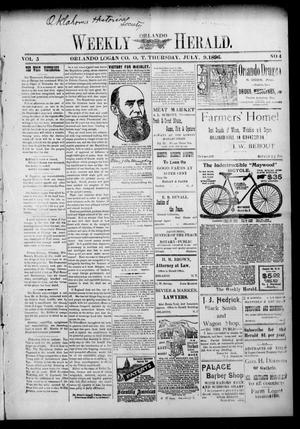 Primary view of object titled 'Weekly Orlando Herald. (Orlando, Okla. Terr.), Vol. 5, No. 4, Ed. 1 Thursday, July 9, 1896'.