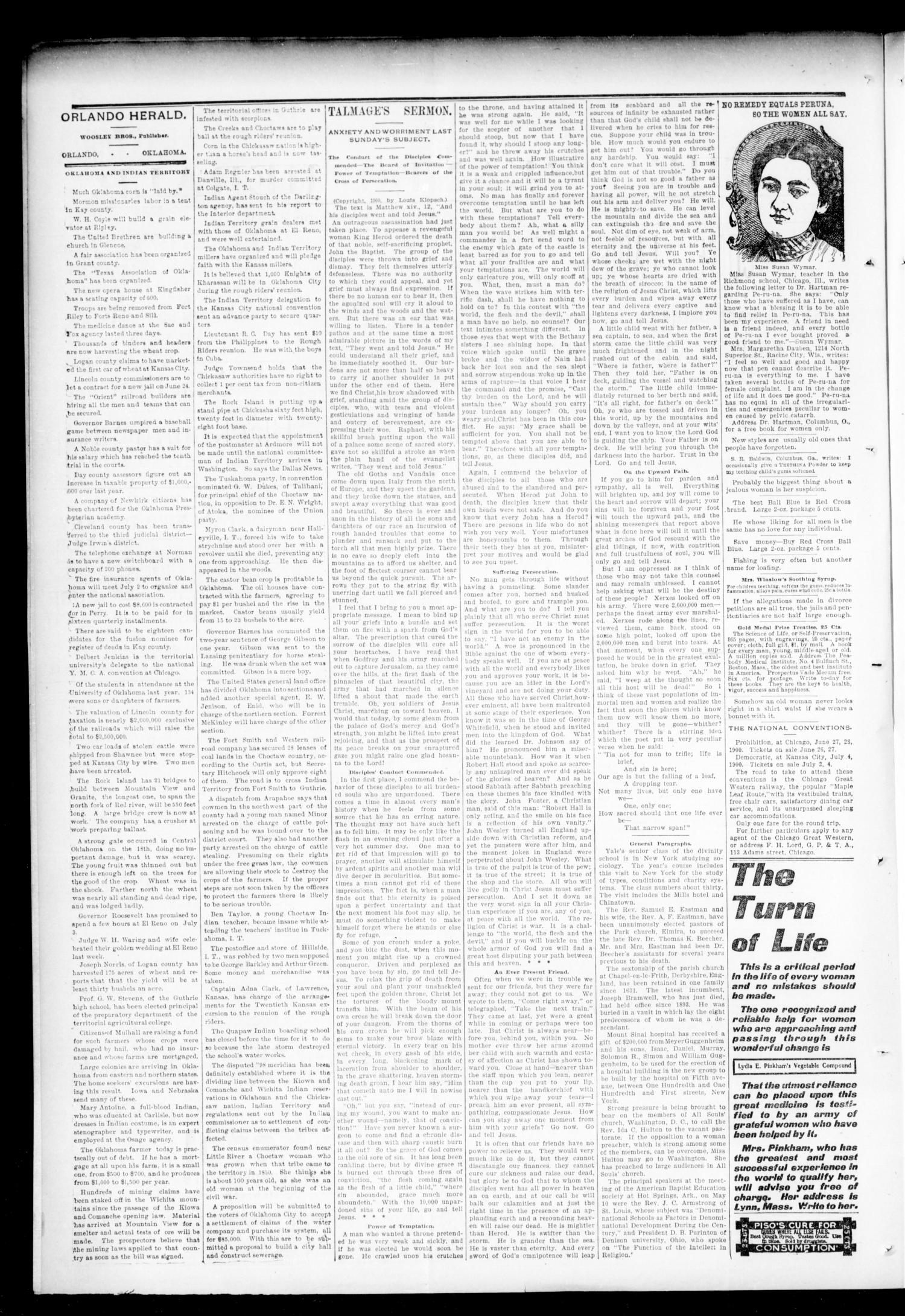 The Orlando Herald. (Orlando, Okla. Terr.), Vol. 10, No. 3, Ed. 1 Friday, June 22, 1900                                                                                                      [Sequence #]: 2 of 4