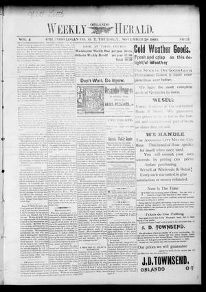 Primary view of object titled 'Weekly Orlando Herald. (Orlando, Okla. Terr.), Vol. 4, No. 23, Ed. 1 Thursday, November 28, 1895'.