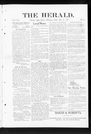 Primary view of object titled 'The Herald. (Orlando, Okla.), Vol. 10, No. 52, Ed. 1 Friday, May 31, 1901'.