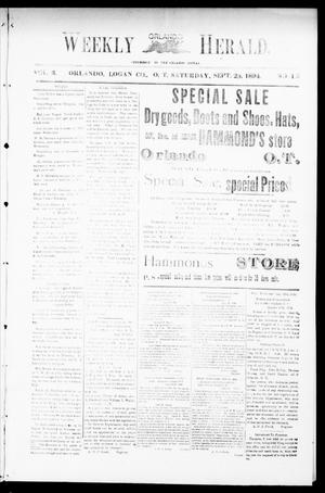 Primary view of object titled 'Weekly Orlando Herald. (Orlando, Okla. Terr.), Vol. 3, No. 15, Ed. 1 Saturday, September 29, 1894'.