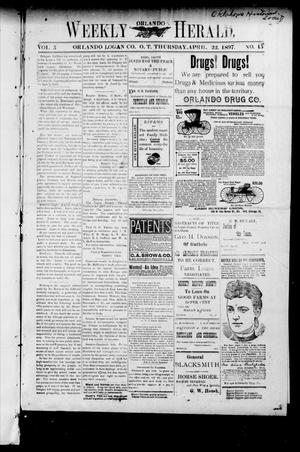 Primary view of object titled 'Weekly Orlando Herald. (Orlando, Okla. Terr.), Vol. 5, No. 45, Ed. 1 Tuesday, April 20, 1897'.