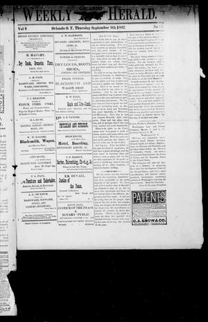 Primary view of object titled 'Weekly Orlando Herald. (Orlando, Okla. Terr.), Vol. 6, No. 13, Ed. 1 Thursday, September 9, 1897'.