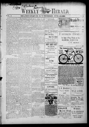 Primary view of object titled 'Weekly Orlando Herald. (Orlando, Okla. Terr.), Vol. 5, No. 2, Ed. 1 Thursday, June 25, 1896'.