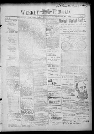 Primary view of object titled 'Weekly Orlando Herald. (Orlando, Okla. Terr.), Vol. 5, No. 13, Ed. 1 Thursday, September 10, 1896'.