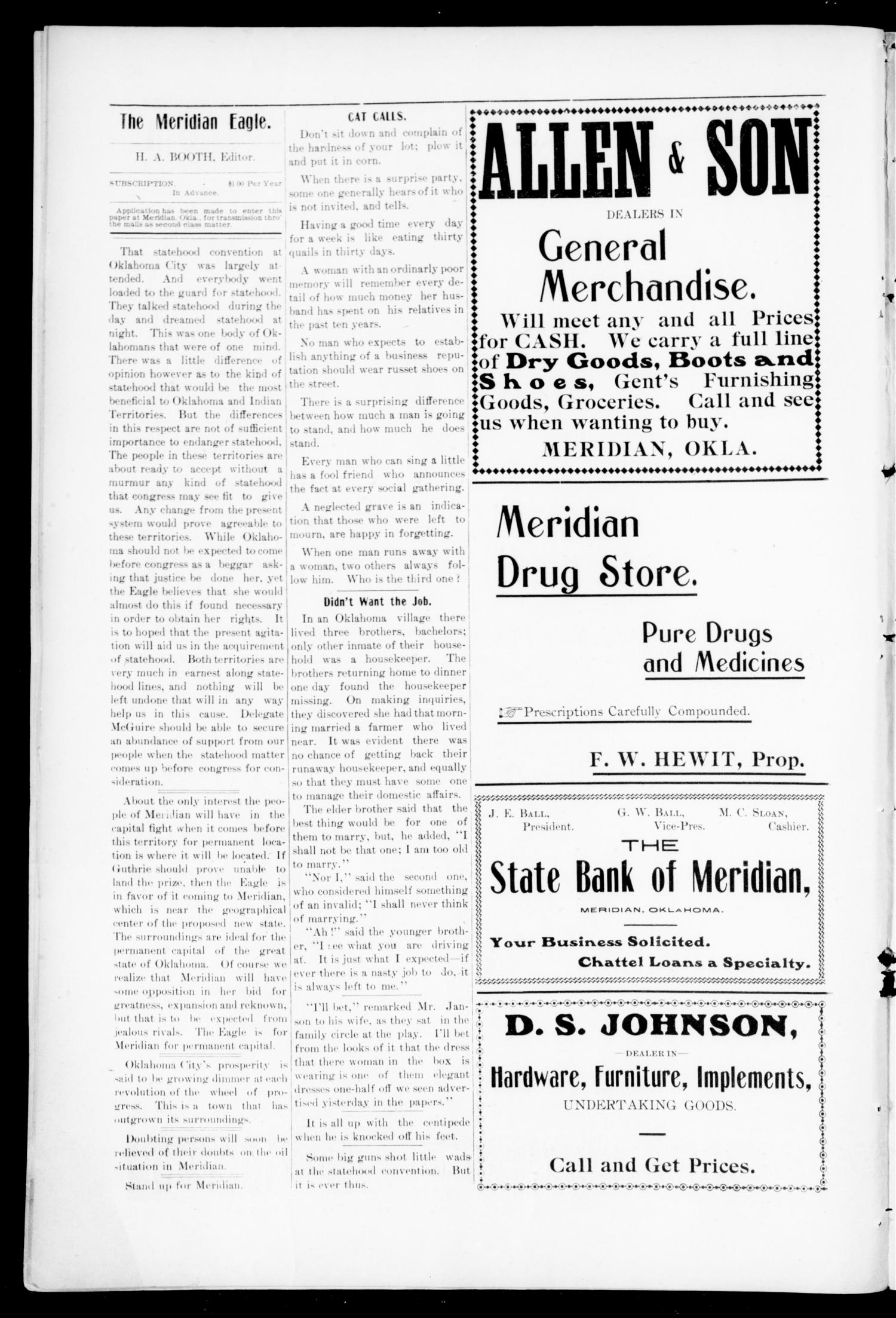 The Meridian Eagle. (Meridian, Okla.), Vol. 1, No. 7, Ed. 1 Saturday, July 15, 1905                                                                                                      [Sequence #]: 4 of 8