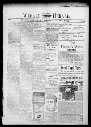 Primary view of object titled 'Weekly Orlando Herald. (Orlando, Okla. Terr.), Vol. 5, No. 30, Ed. 1 Thursday, January 7, 1897'.