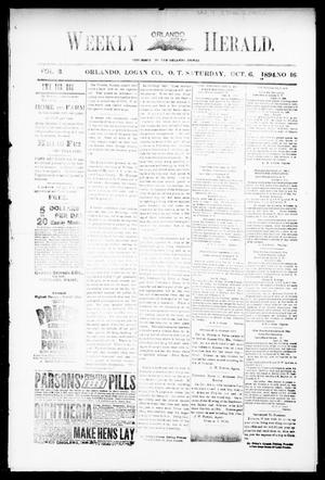 Primary view of object titled 'Weekly Orlando Herald. (Orlando, Okla. Terr.), Vol. 3, No. 16, Ed. 1 Saturday, October 6, 1894'.