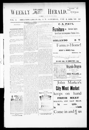 Primary view of object titled 'Weekly Orlando Herald. (Orlando, Okla. Terr.), Vol. 2, No. 50, Ed. 1 Saturday, June 2, 1894'.