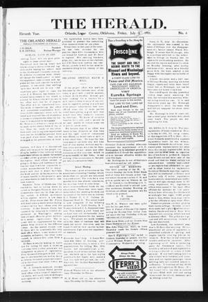 Primary view of object titled 'The Herald. (Orlando, Okla.), Vol. 11, No. 6, Ed. 2 Friday, July 5, 1901'.