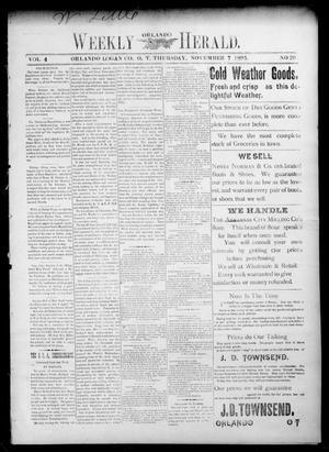 Primary view of object titled 'Weekly Orlando Herald. (Orlando, Okla. Terr.), Vol. 4, No. 20, Ed. 1 Thursday, November 7, 1895'.