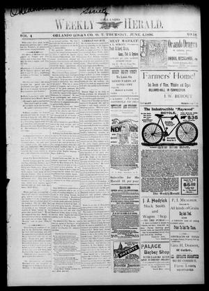 Primary view of object titled 'Weekly Orlando Herald. (Orlando, Okla. Terr.), Vol. 4, No. 51, Ed. 1 Thursday, June 4, 1896'.