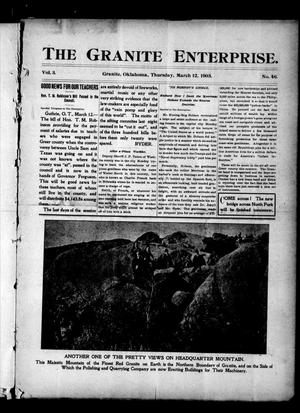 Primary view of object titled 'The Granite Enterprise. (Granite, Okla.), Vol. 3, No. 46, Ed. 1 Thursday, March 12, 1903'.