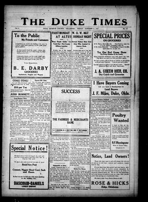 Primary view of The Duke Times (Duke, Okla.), Vol. 8, No. 26, Ed. 1 Friday, January 5, 1917
