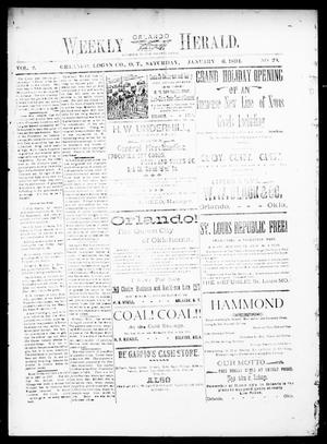 Primary view of object titled 'Weekly Orlando Herald. (Orlando, Okla. Terr.), Vol. 2, No. 29, Ed. 1 Saturday, January 6, 1894'.