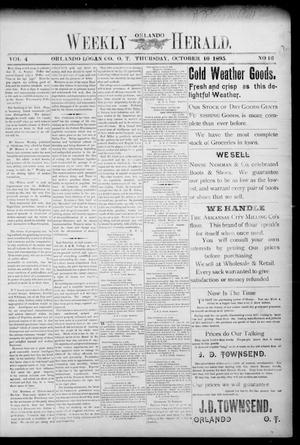 Primary view of object titled 'Weekly Orlando Herald. (Orlando, Okla. Terr.), Vol. 4, No. 16, Ed. 1 Thursday, October 10, 1895'.
