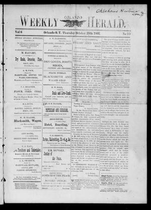 Primary view of object titled 'Weekly Orlando Herald. (Orlando, Okla. Terr.), Vol. 6, No. 20, Ed. 1 Thursday, October 28, 1897'.