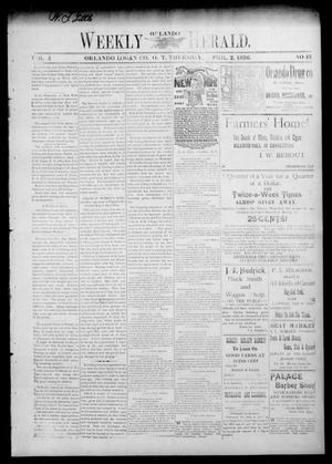 Primary view of object titled 'Weekly Orlando Herald. (Orlando, Okla. Terr.), Vol. 4, No. 43, Ed. 1 Thursday, April 2, 1896'.