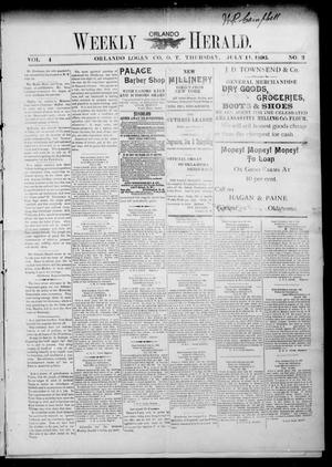 Primary view of object titled 'Weekly Orlando Herald. (Orlando, Okla. Terr.), Vol. 4, No. 3, Ed. 1 Thursday, July 11, 1895'.