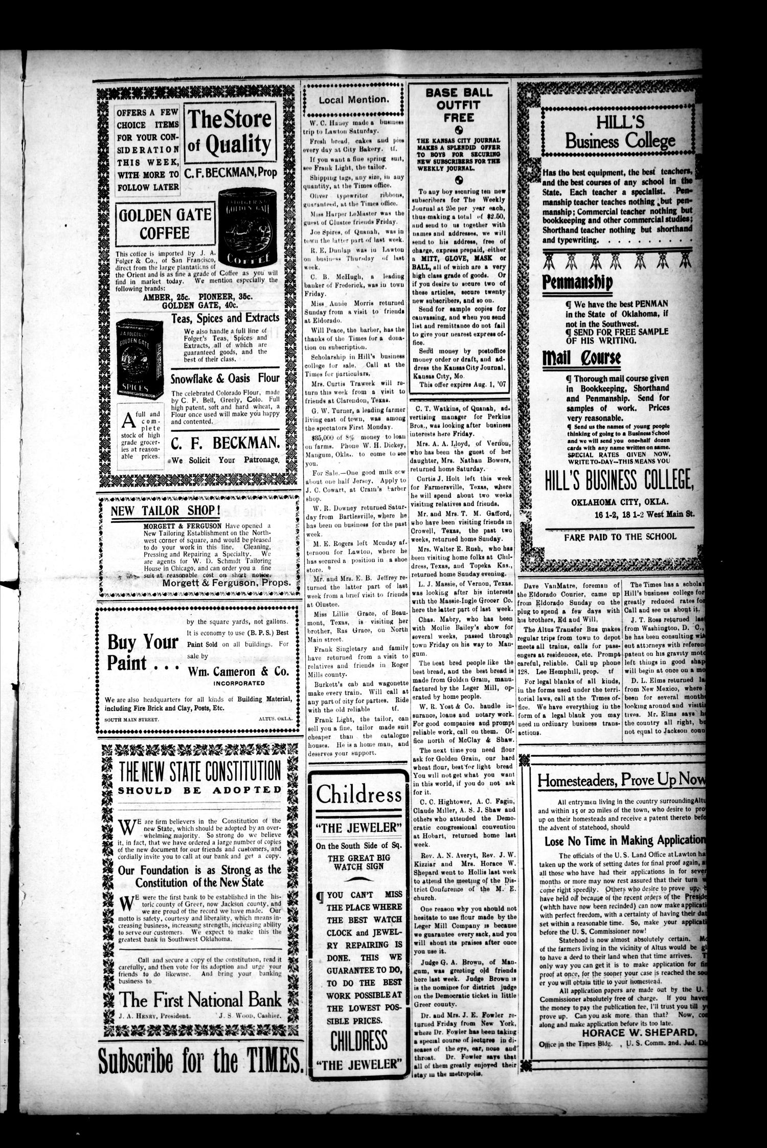 The Altus Times. (Altus, Okla.), Vol. 6, No. 26, Ed. 1 Thursday, July 4, 1907                                                                                                      [Sequence #]: 2 of 5