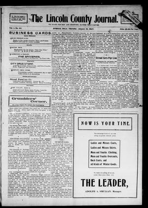 Primary view of object titled 'The Lincoln County Journal. (Stroud, Okla.), Vol. 1, No. 44, Ed. 1 Thursday, January 10, 1907'.
