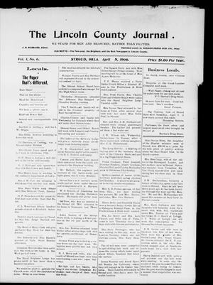 Primary view of object titled 'The Lincoln County Journal. (Stroud, Okla.), Vol. 1, No. 6, Ed. 2 Thursday, April 5, 1906'.