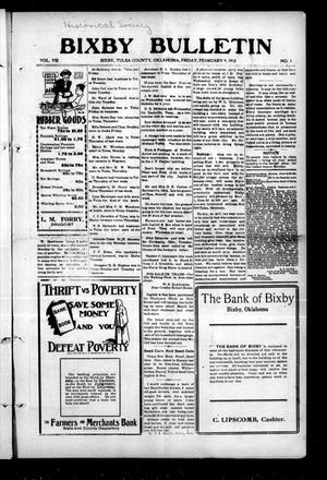 Primary view of object titled 'Bixby Bulletin (Bixby, Okla.), Vol. 8, No. 1, Ed. 1 Friday, February 9, 1912'.