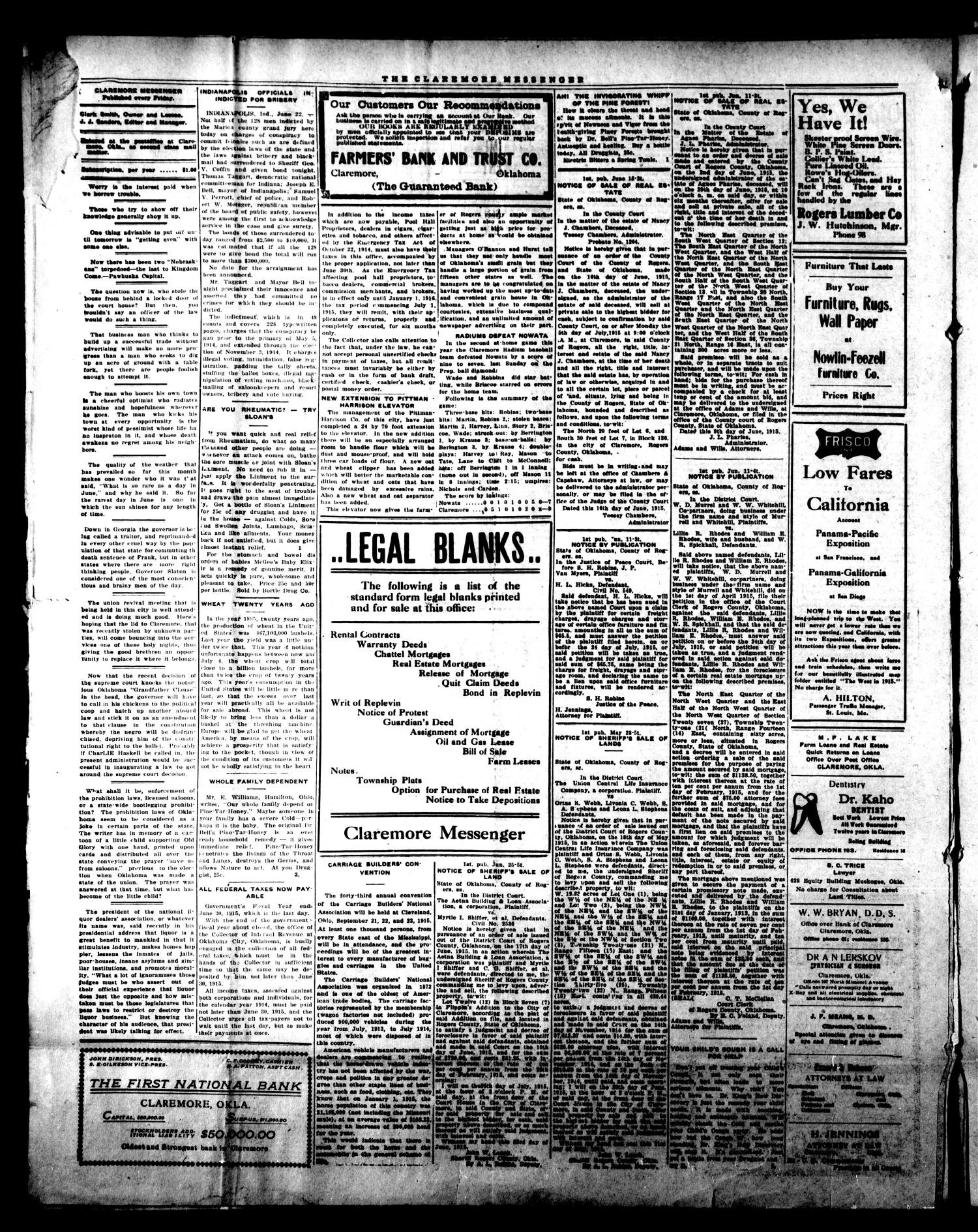 Claremore Messenger., Vol. 20, No. 27, Ed. 1 Friday, June 25, 1915                                                                                                      [Sequence #]: 4 of 10