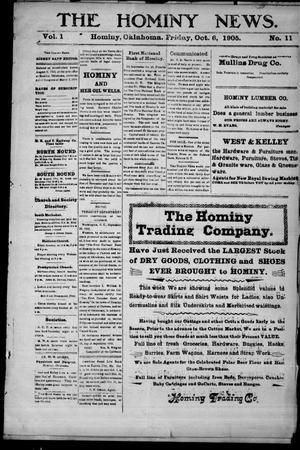 Primary view of object titled 'The Hominy News. (Hominy, Okla.), Vol. 1, No. 11, Ed. 1 Friday, October 6, 1905'.
