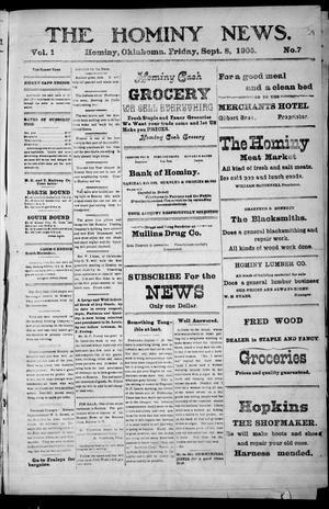 Primary view of object titled 'The Hominy News. (Hominy, Okla.), Vol. 1, No. 7, Ed. 1 Friday, September 8, 1905'.