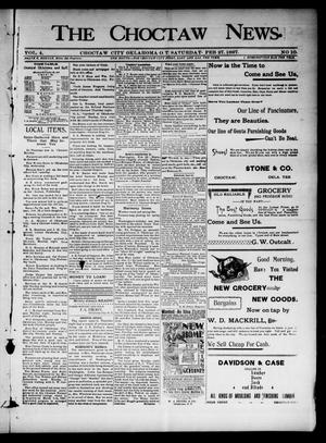 Primary view of object titled 'The Choctaw News. (Choctaw City, Okla. Terr.), Vol. 4, No. 10, Ed. 1 Saturday, February 27, 1897'.