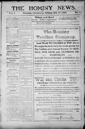 Primary view of object titled 'The Hominy News. (Hominy, Okla.), Vol. 1, No. 14, Ed. 1 Friday, October 27, 1905'.