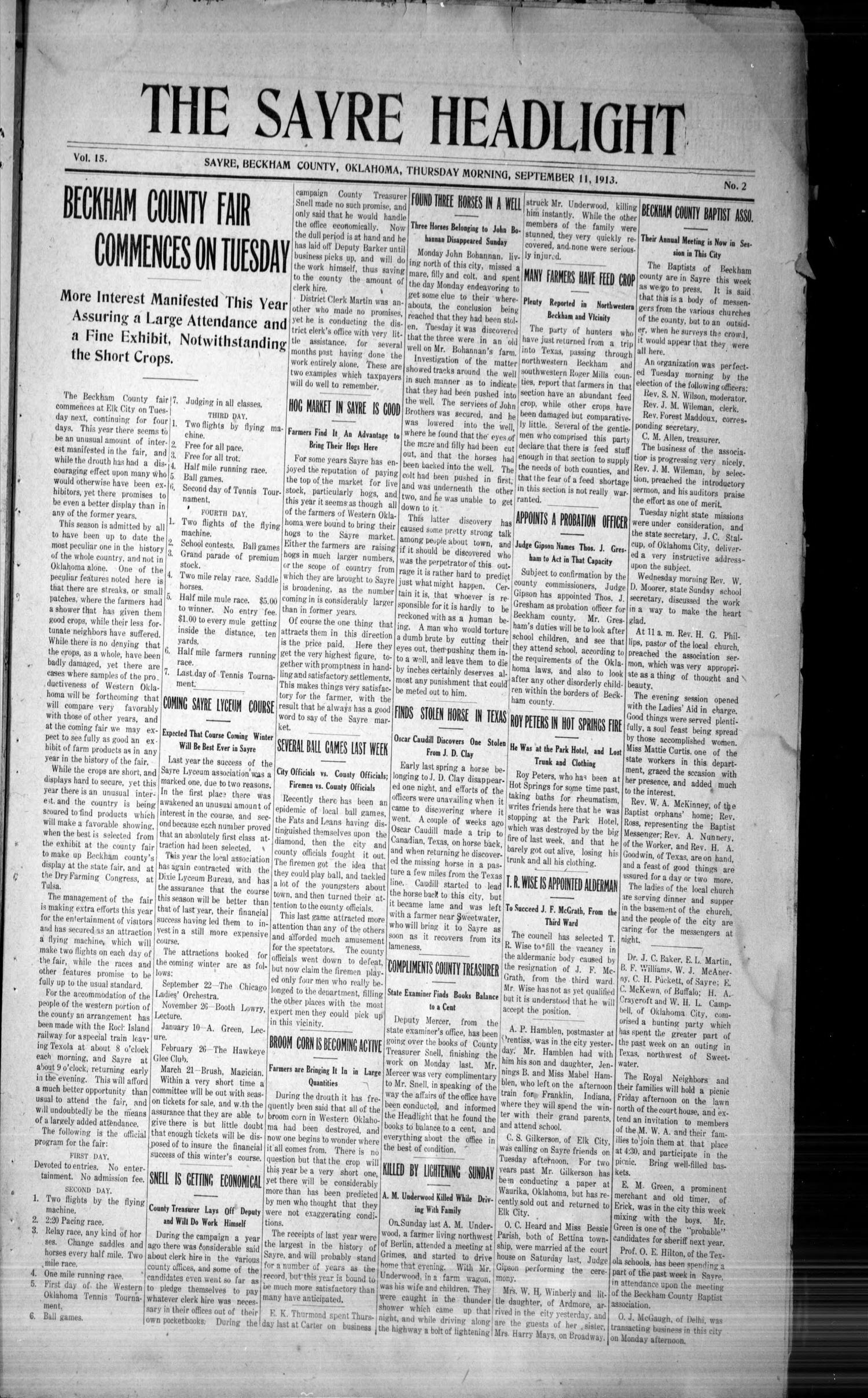 The Sayre Headlight, Vol. 15, No. 2, Ed. 1 Thursday, September 11, 1913                                                                                                      [Sequence #]: 1 of 8