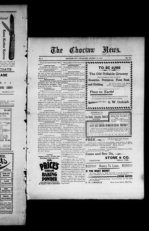 Primary view of object titled 'The Choctaw News. (Choctaw City, Okla.), Vol. 4, No. 35, Ed. 1 Saturday, August 21, 1897'.