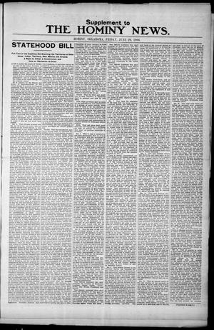 Primary view of object titled 'The Hominy News. (Hominy, Okla.), Vol. 1, No. 49, Ed. 2 Friday, June 29, 1906'.