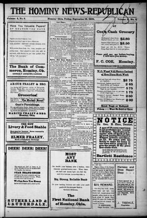 Primary view of object titled 'The Hominy News-Republican (Hominy, Okla.), Vol. 3, No. 6, Ed. 1 Friday, September 18, 1908'.