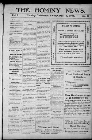 Primary view of object titled 'The Hominy News. (Hominy, Okla.), Vol. 1, No. 19, Ed. 1 Friday, December 1, 1905'.