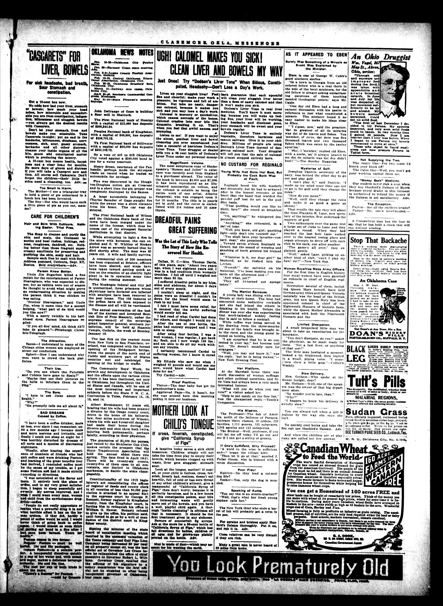 Claremore Messenger., Vol. 20, No. 6, Ed. 1 Friday, January 22, 1915                                                                                                      [Sequence #]: 3 of 8