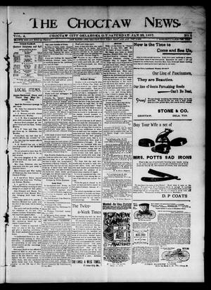 Primary view of object titled 'The Choctaw News. (Choctaw City, Okla. Terr.), Vol. 4, No. 5, Ed. 1 Saturday, January 23, 1897'.