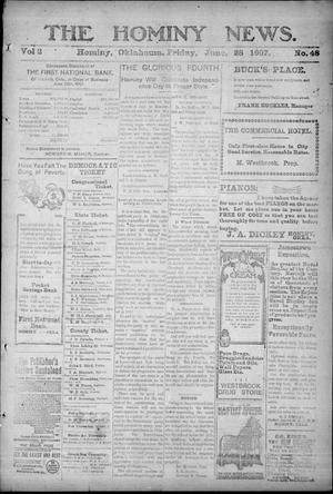 Primary view of object titled 'The Hominy News. (Hominy, Okla.), Vol. 2, No. 48, Ed. 1 Friday, June 28, 1907'.